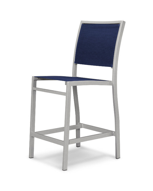 A191-11902 Bayline Counter Side Chair in Textured Silver with a Navy Blue Sling