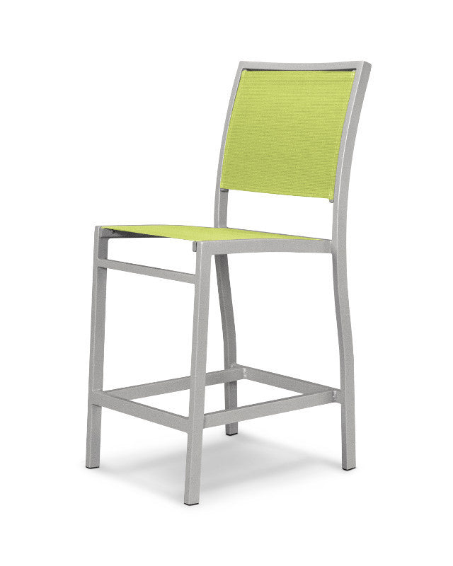 A191-11904 Bayline Counter Side Chair in Textured Silver with an Avocado Sling