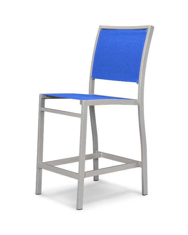 A191-11905 Bayline Counter Side Chair in Textured Silver with a Royal Blue Sling
