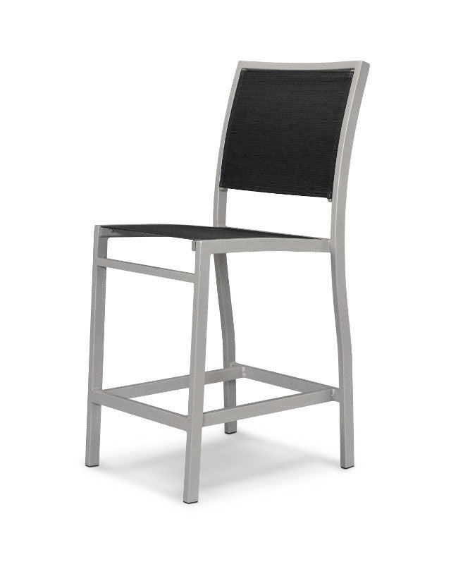 A191-11908 Bayline Counter Side Chair in Textured Silver with a Black Sling