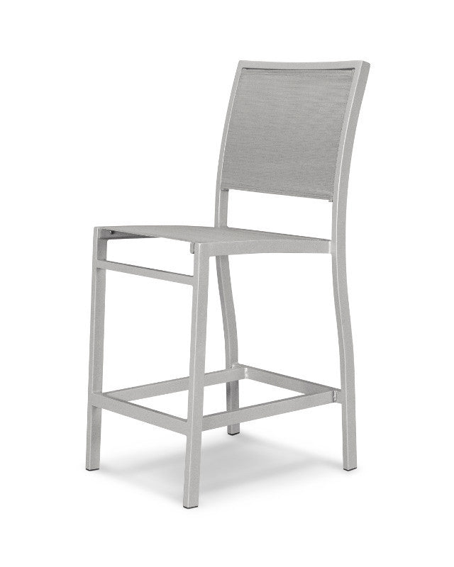 A191-11909 Bayline Counter Side Chair in Textured Silver with a Metallic Sling