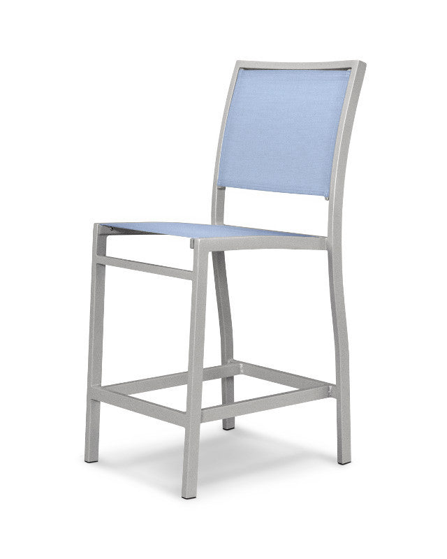 A191-11910 Bayline Counter Side Chair in Textured Silver with a Poolside Sling