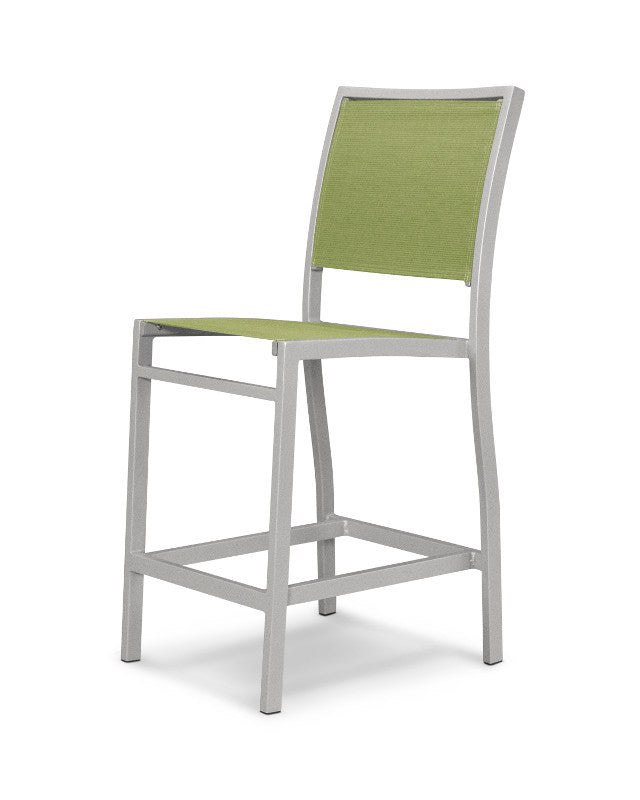 A191-11911 Bayline Counter Side Chair in Textured Silver with a Kiwi Sling