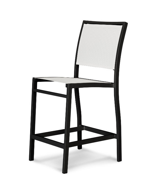 A191-12901 Bayline Counter Side Chair in Textured Black with a White Sling