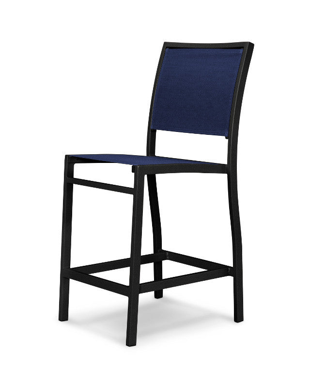 A191-12902 Bayline Counter Side Chair in Textured Black with a Navy Blue Sling