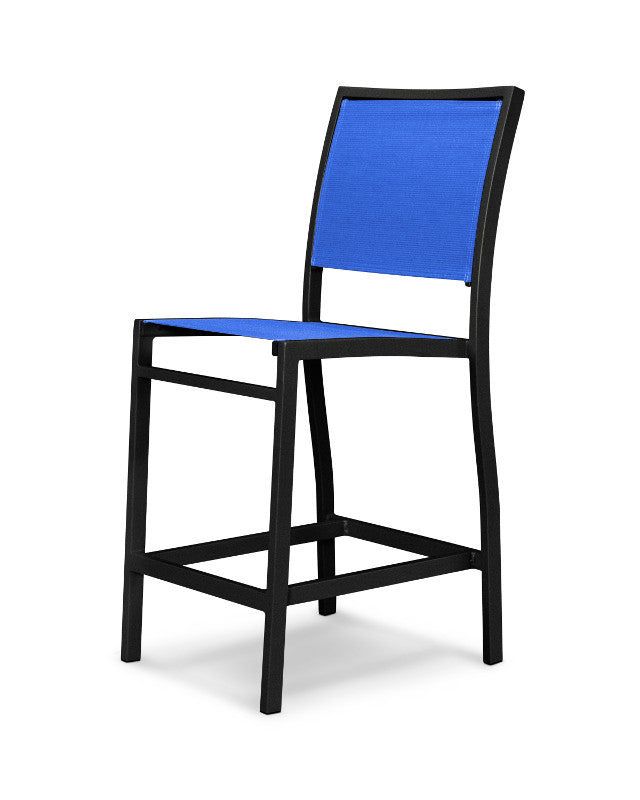 A191-12905 Bayline Counter Side Chair in Textured Black with a Royal Blue Sling