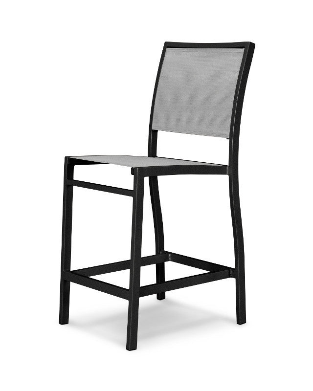 A191-12909 Bayline Counter Side Chair in Textured Black with a Metallic Sling