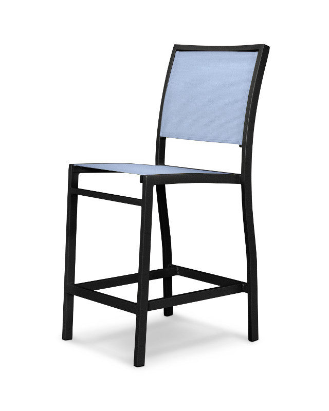 A191-12910 Bayline Counter Side Chair in Textured Black with a Poolside Sling