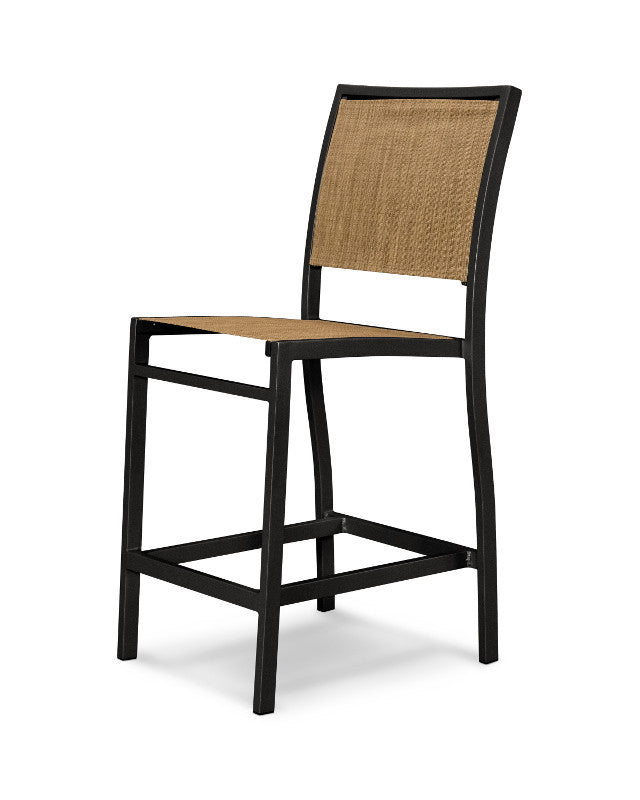 A191-12912 Bayline Counter Side Chair in Textured Black with a Burlap Sling