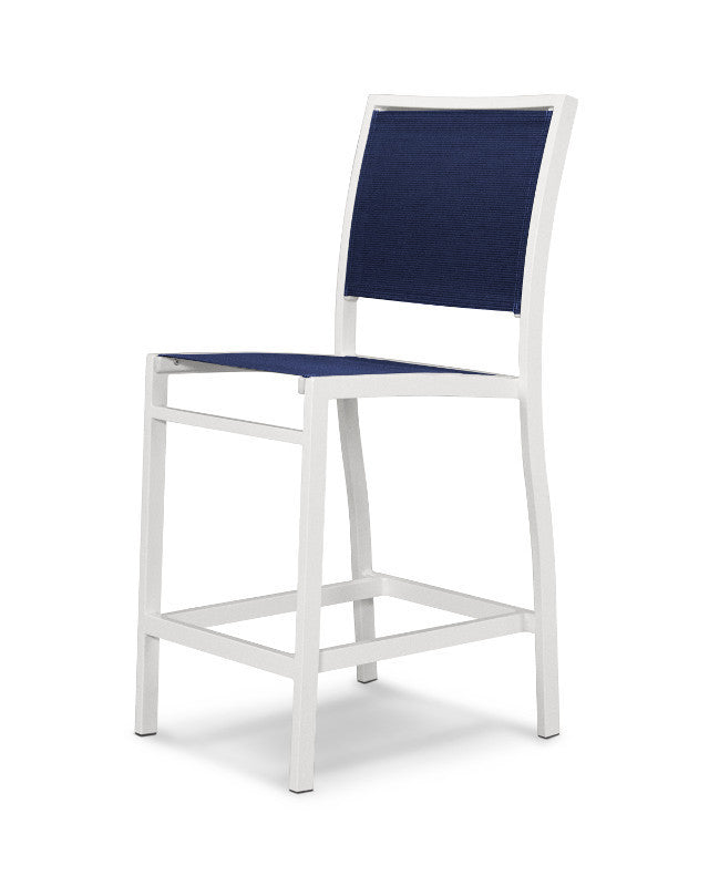 A191-13902 Bayline Counter Side Chair in Satin White with a Navy Blue Sling