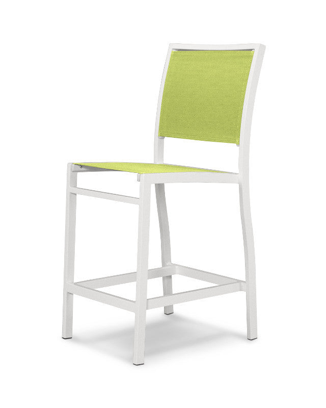 A191-13904 Bayline Counter Side Chair in Satin White with an Avocado Sling