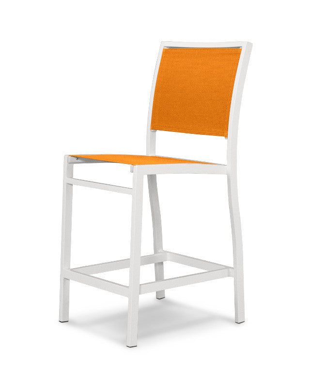 A191-13906 Bayline Counter Side Chair in Satin White with a Citrus Sling