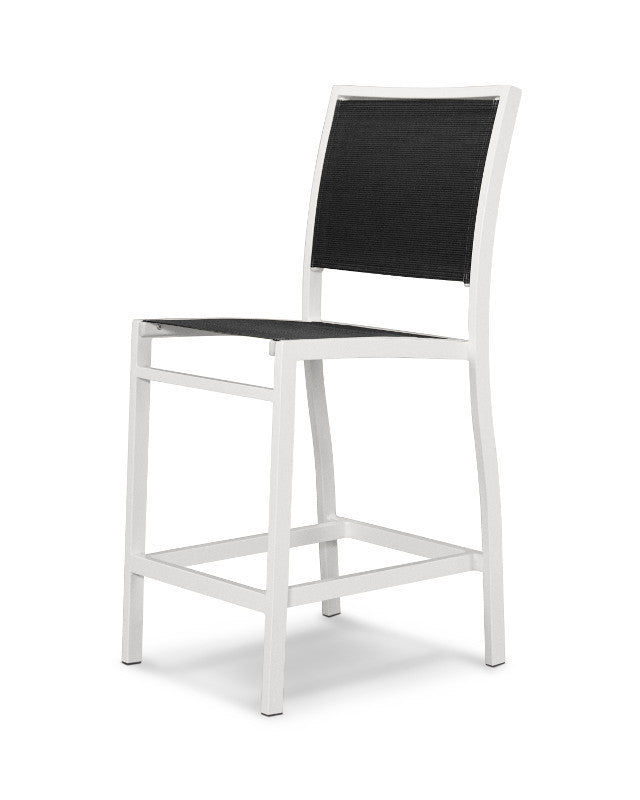 A191-13908 Bayline Counter Side Chair in Satin White with a Black Sling
