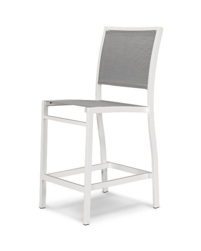 A191-13909 Bayline Counter Side Chair in Satin White with a Metallic Sling