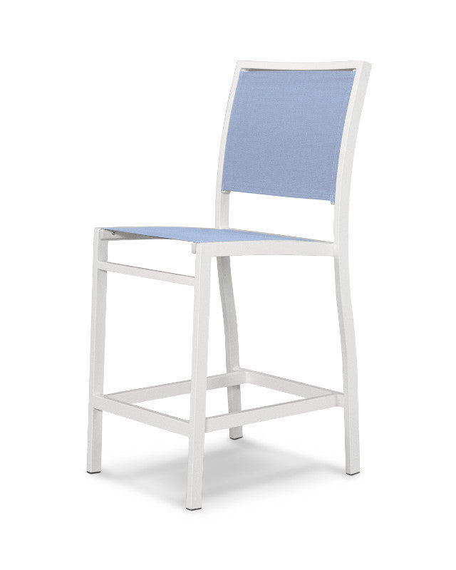 A191-13910 Bayline Counter Side Chair in Satin White with a Poolside Sling