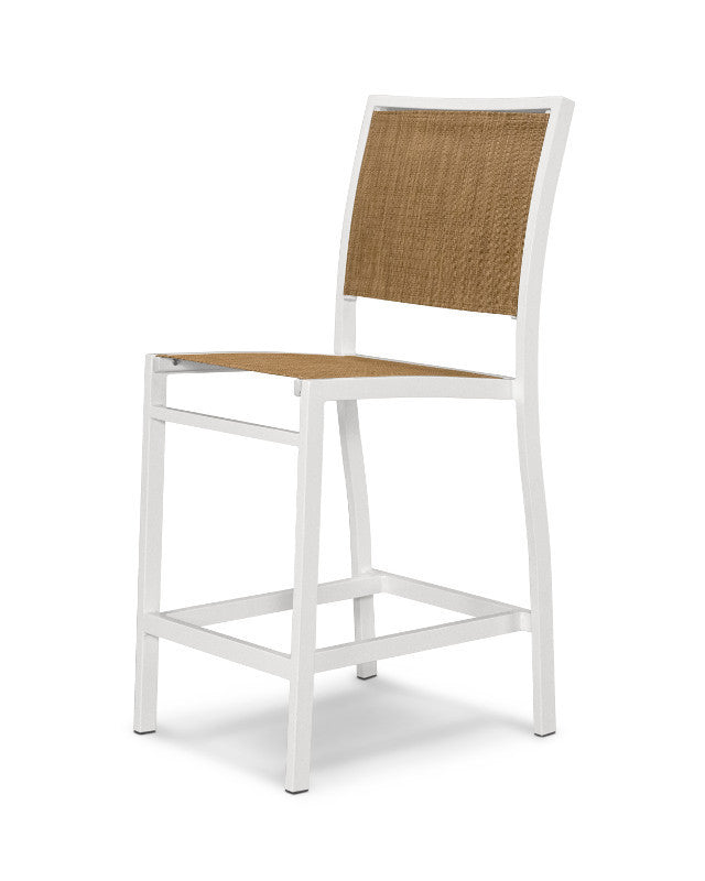 A191-13912 Bayline Counter Side Chair in Satin White with a Burlap Sling
