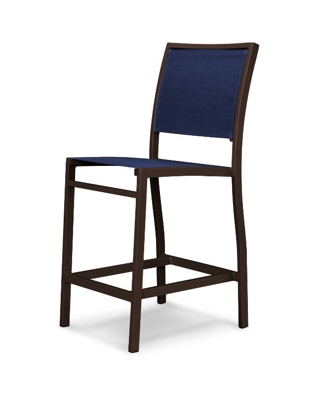 A191-16902 Bayline Counter Side Chair in Textured Bronze with a Navy Blue Sling