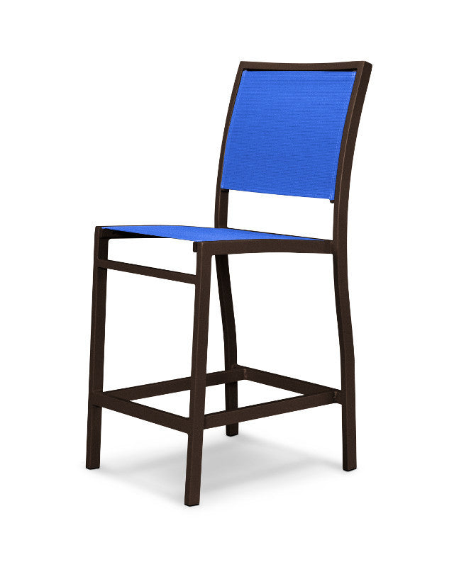 A191-16905 Bayline Counter Side Chair in Textured Bronze with a Royal Blue Sling