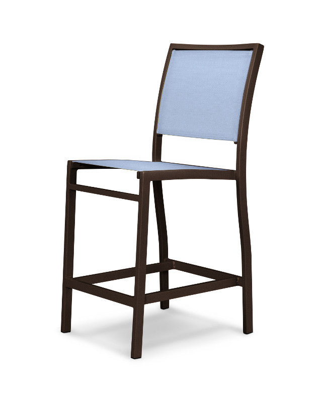 A191-16910 Bayline Counter Side Chair in Textured Bronze with a Poolside Sling