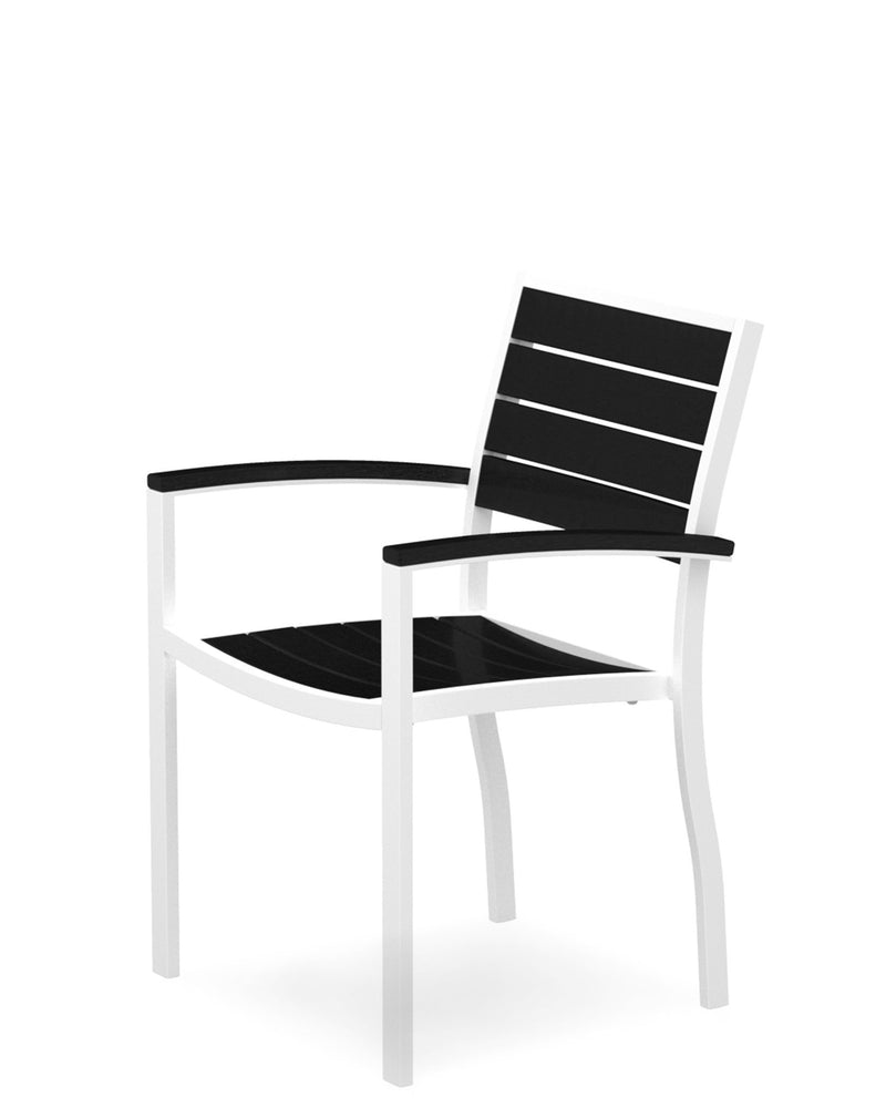 A200-13BL Euro Dining Arm Chair in Satin White and Black