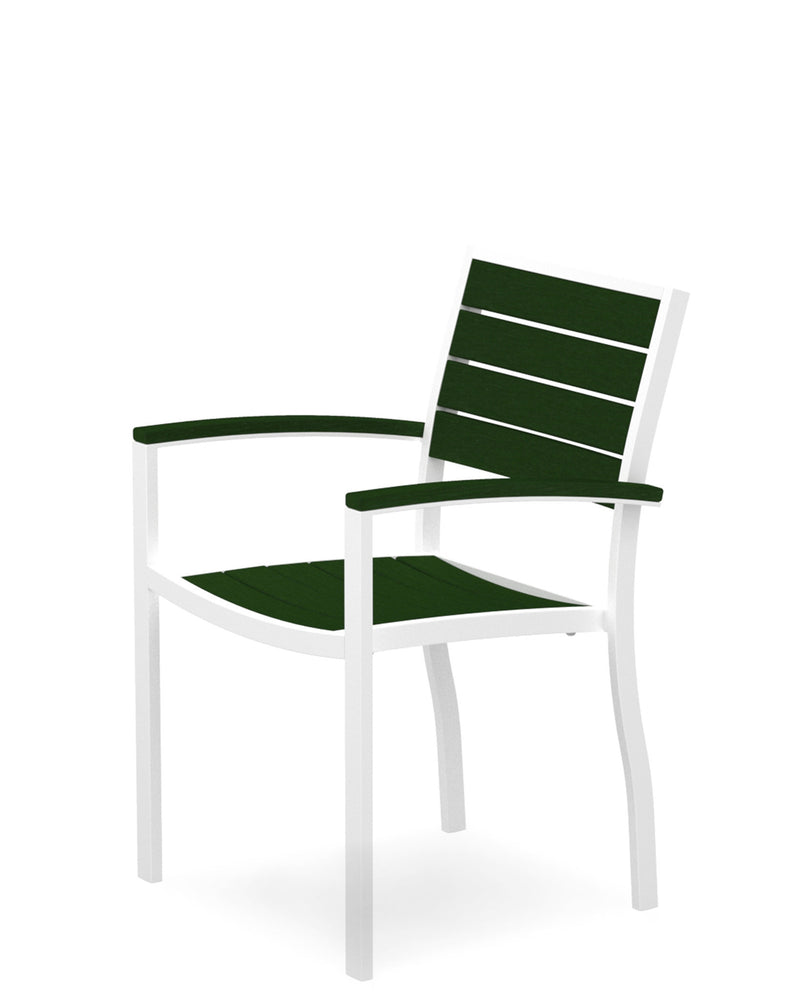 A200-13GR Euro Dining Arm Chair in Satin White and Green