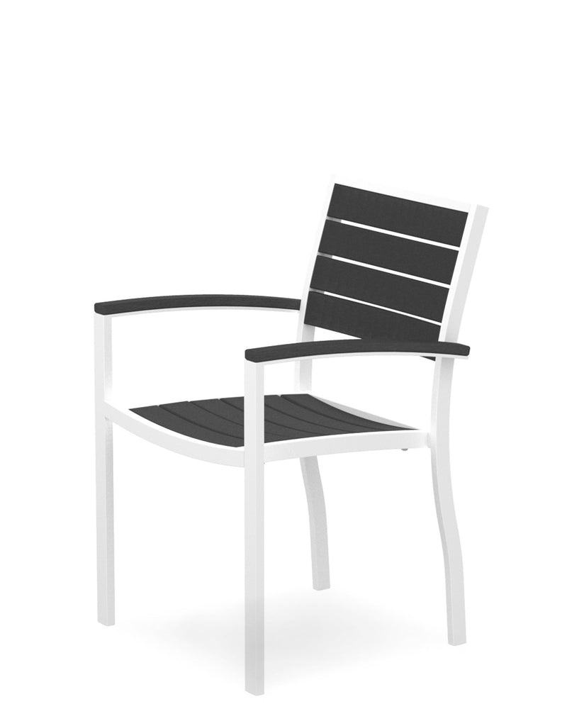 A200-13GY Euro Dining Arm Chair in Satin White and Slate Grey