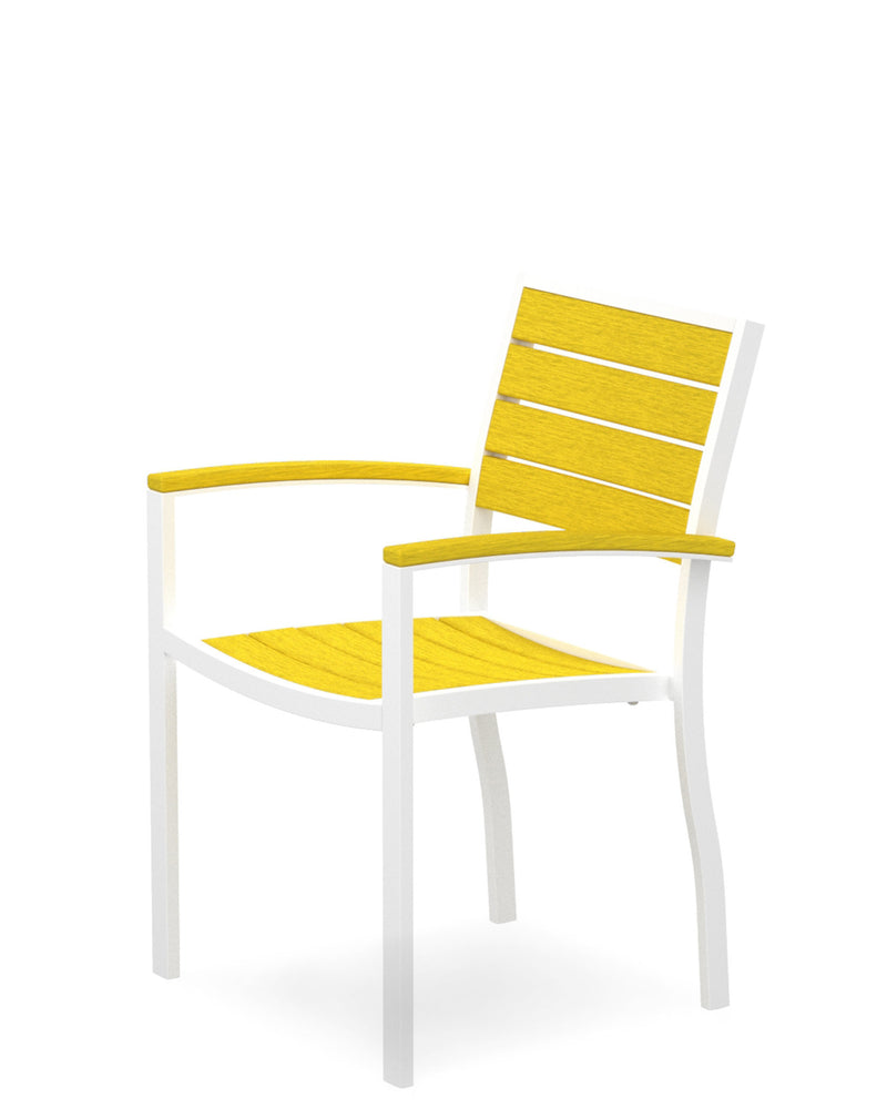 A200-13LE Euro Dining Arm Chair in Satin White and Lemon