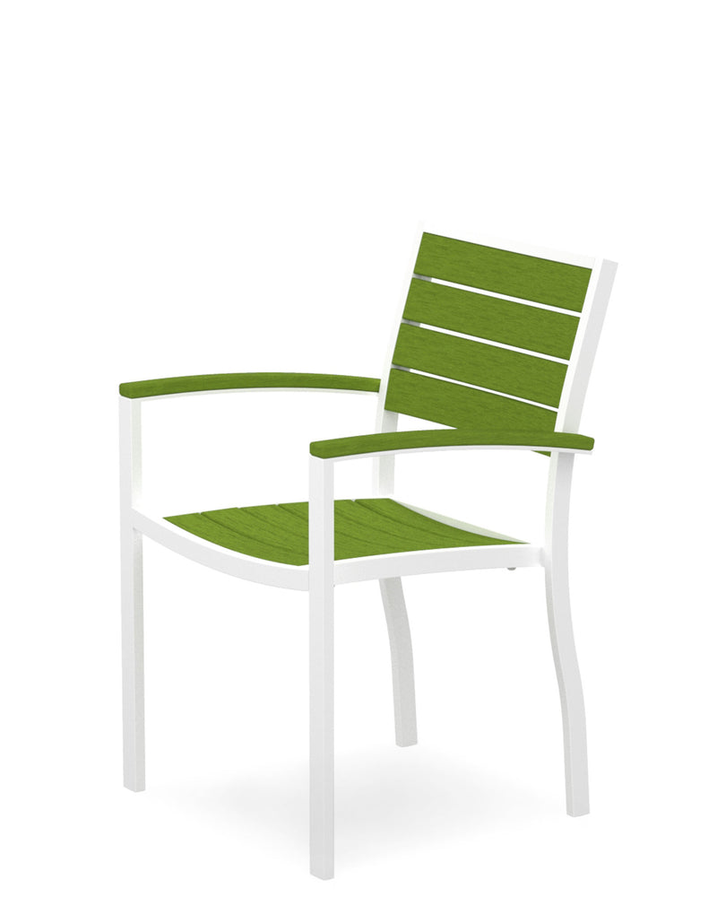 A200-13LI Euro Dining Arm Chair in Satin White and Lime