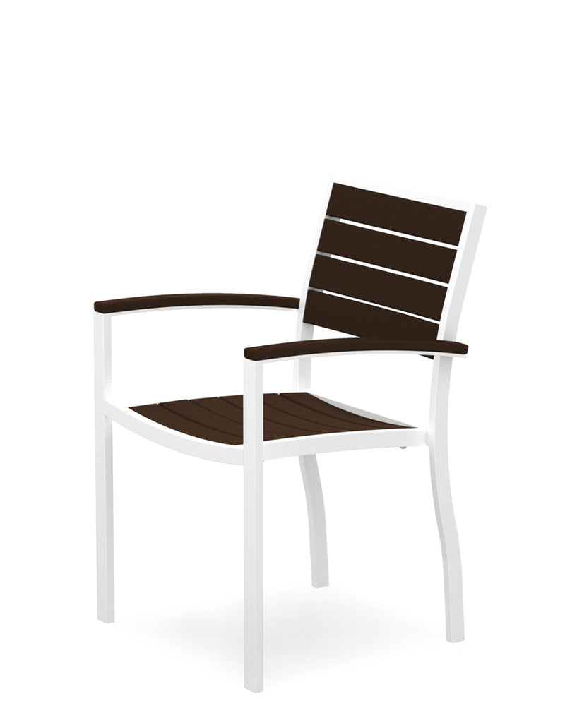 A200-13MA Euro Dining Arm Chair in Satin White and Mahogany