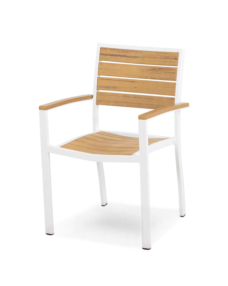 A200-13NT Euro Dining Arm Chair in Satin White and Plastique Natural Teak