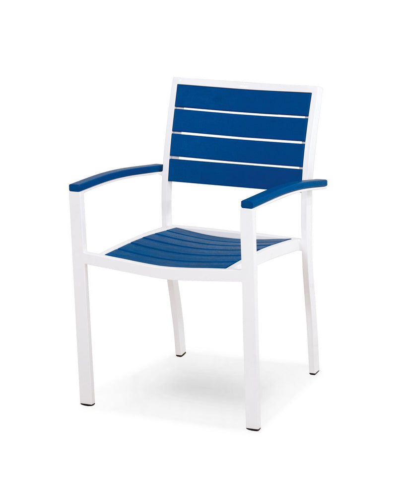 A200-13PB Euro Dining Arm Chair in Satin White and Pacific Blue