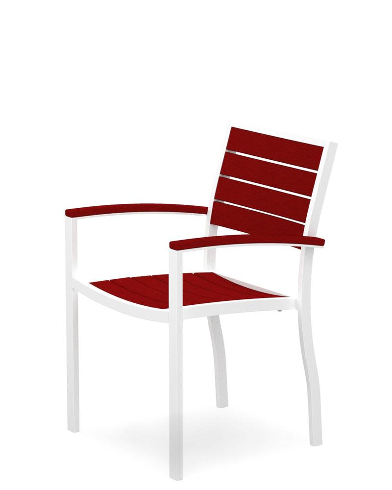 A200-13SR Euro Dining Arm Chair in Satin White and Sunset Red