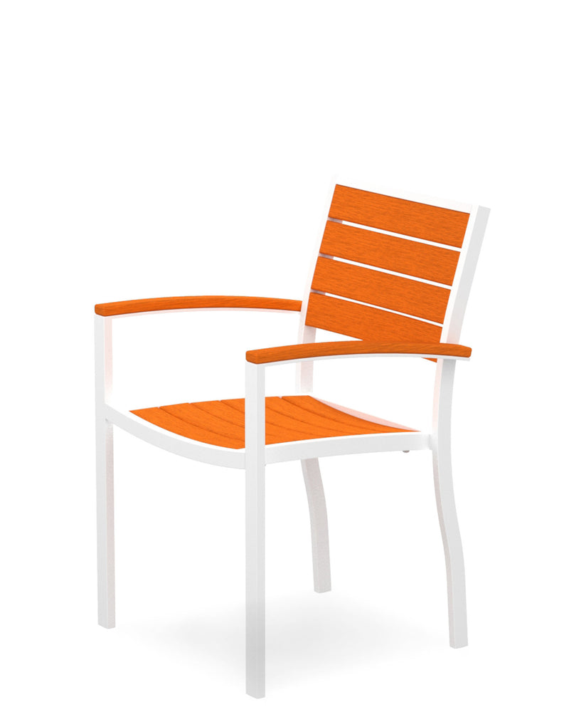 A200-13TA Euro Dining Arm Chair in Satin White and Tangerine