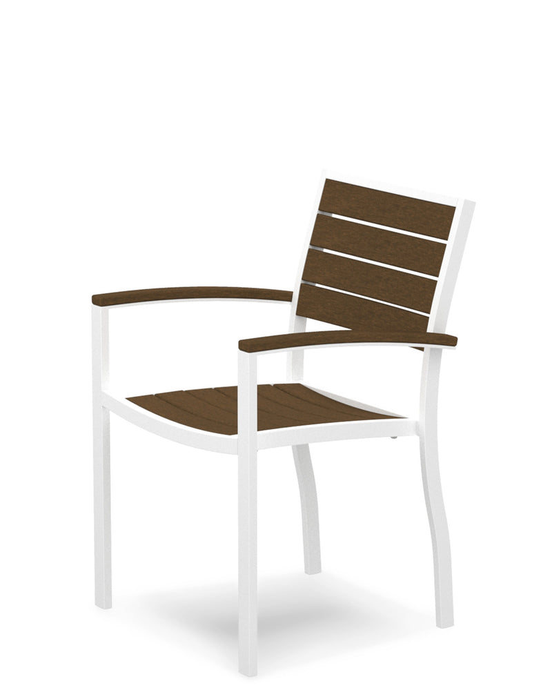 A200-13TE Euro Dining Arm Chair in Satin White and Teak
