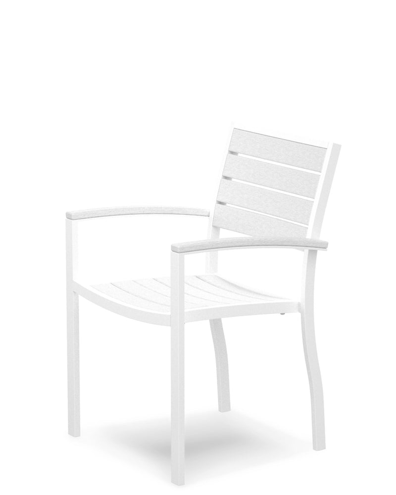 A200-13WH Euro Dining Arm Chair in Satin White and White