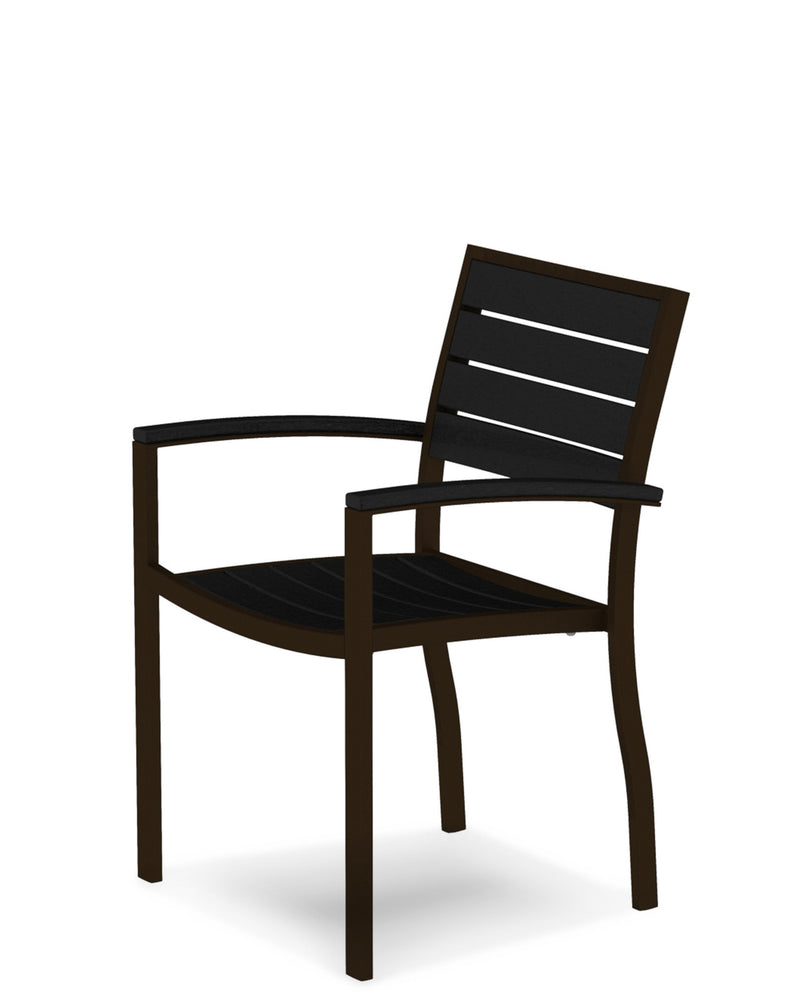 A200-16BL Euro Dining Arm Chair in Textured Bronze and Black
