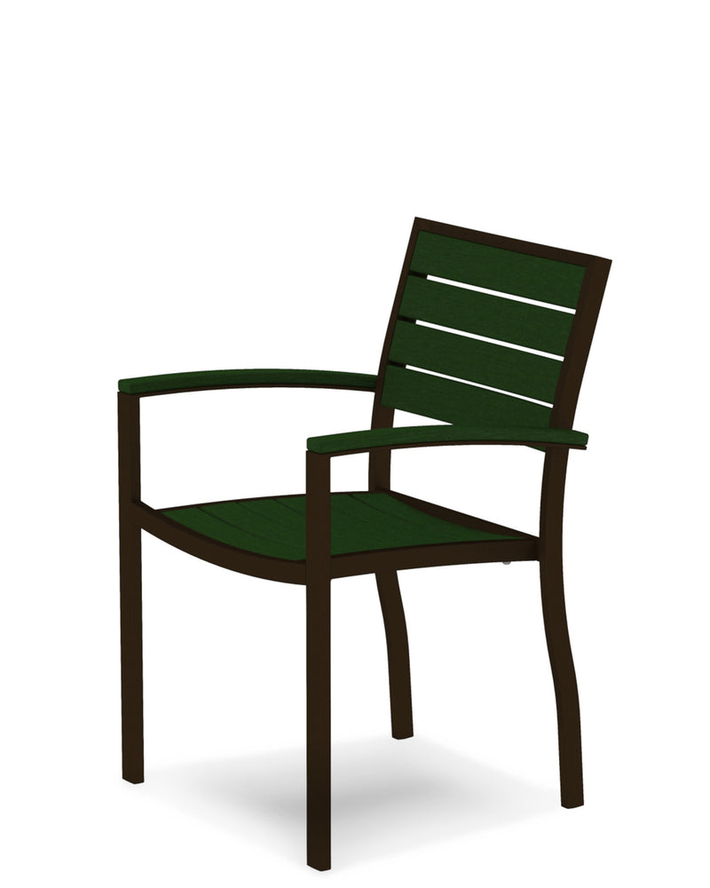 A200-16GR Euro Dining Arm Chair in Textured Bronze and Green