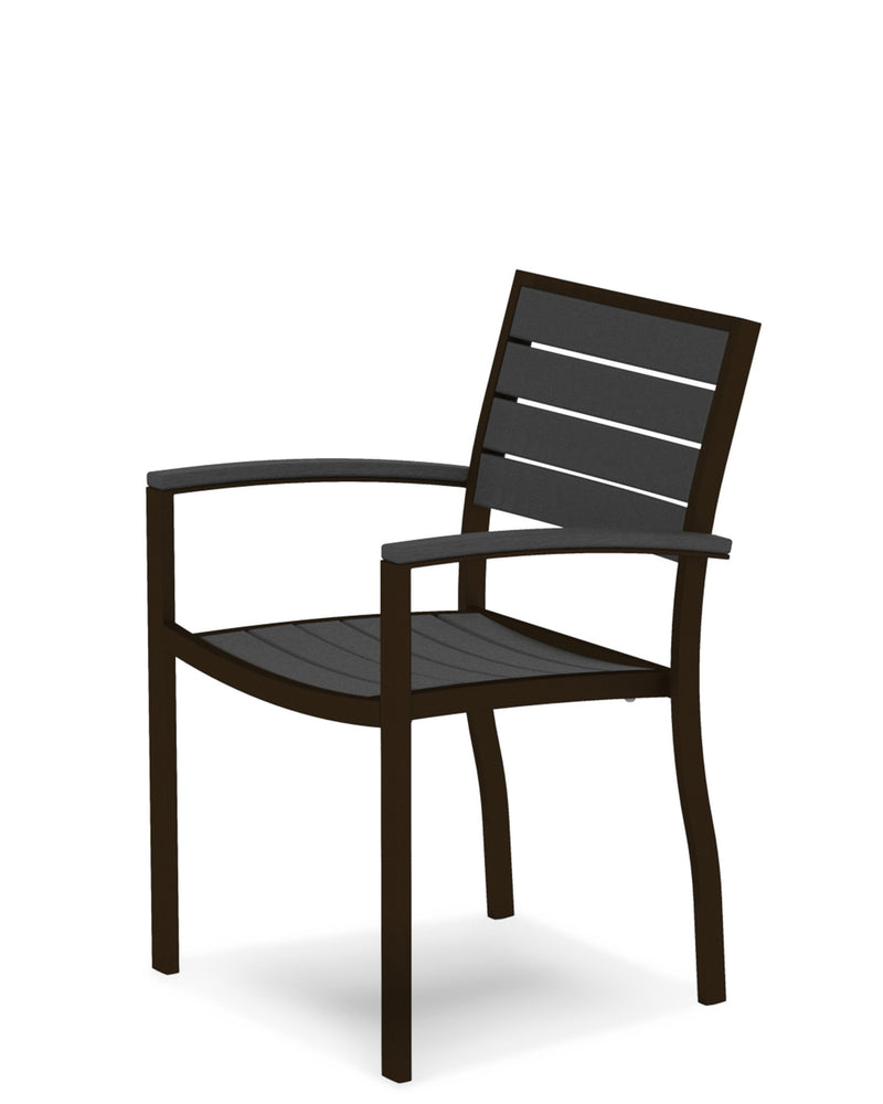A200-16GY Euro Dining Arm Chair in Textured Bronze and Slate Grey