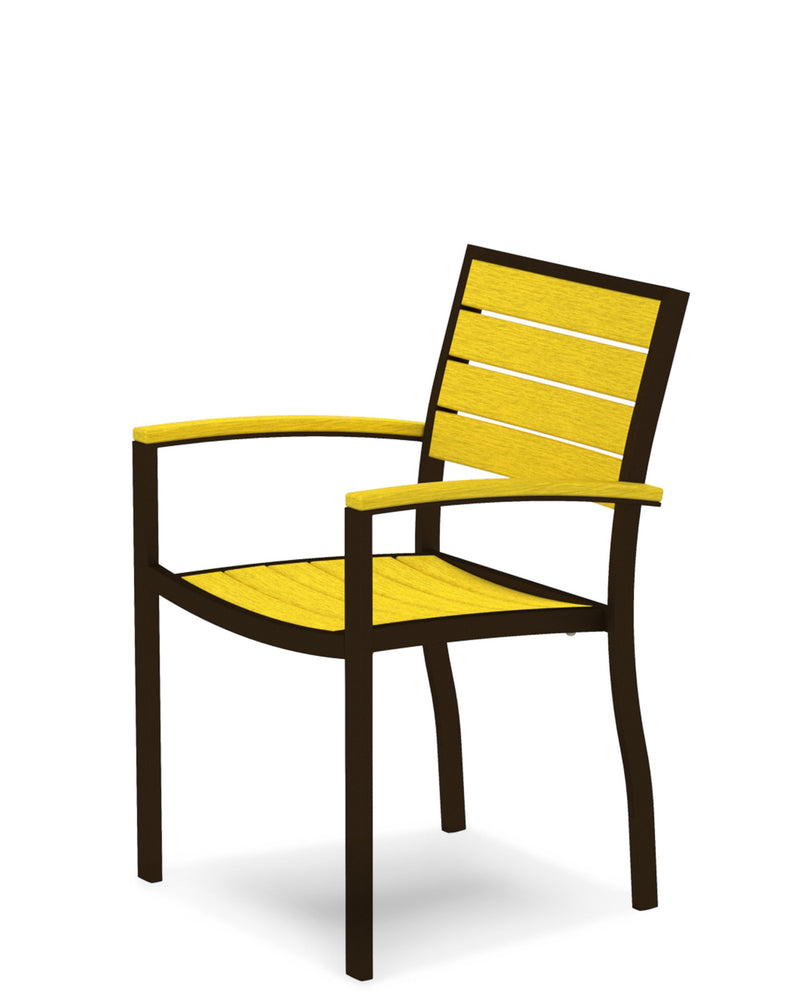 A200-16LE Euro Dining Arm Chair in Textured Bronze and Lemon