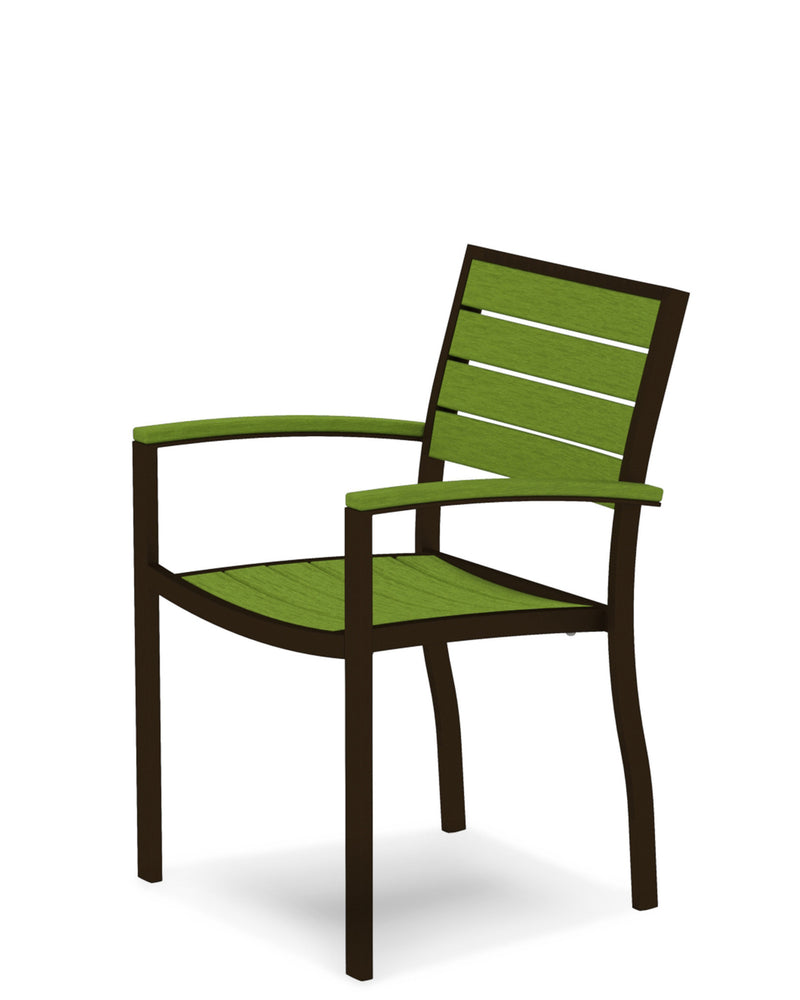 A200-16LI Euro Dining Arm Chair in Textured Bronze and Lime