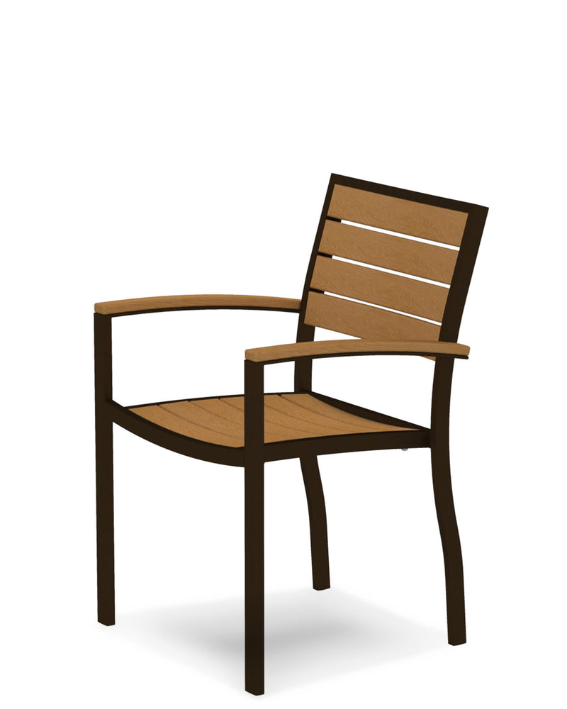 A200-16NT Euro Dining Arm Chair in Textured Bronze and Plastique Natural Teak