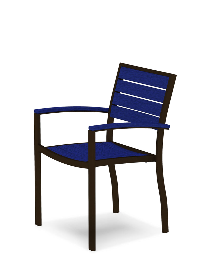 A200-16PB Euro Dining Arm Chair in Textured Bronze and Pacific Blue