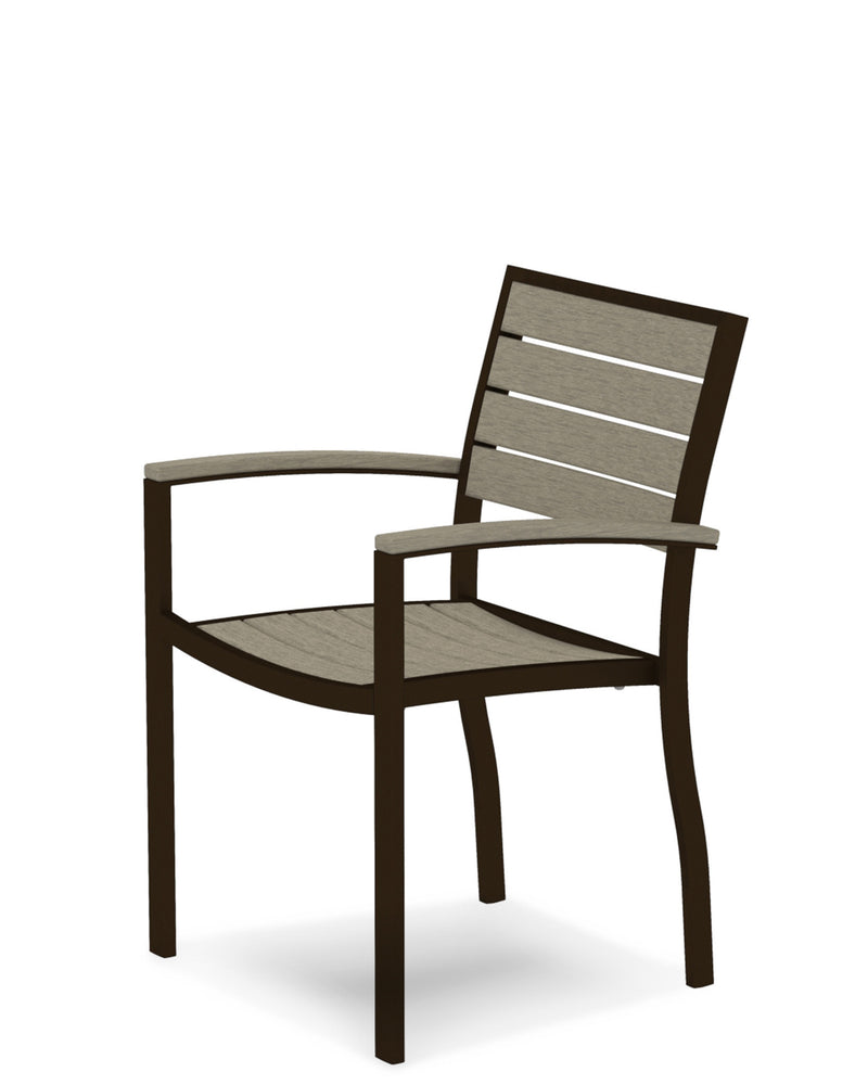 A200-16SA Euro Dining Arm Chair in Textured Bronze and Sand
