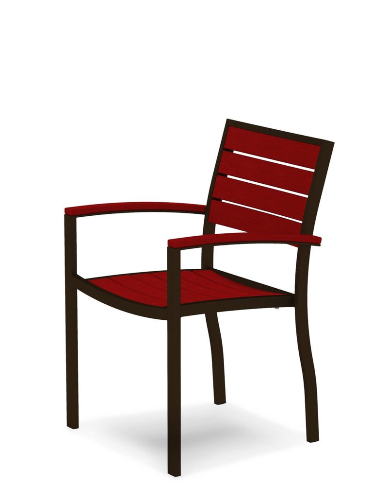 A200-16SR Euro Dining Arm Chair in Textured Bronze and Sunset Red
