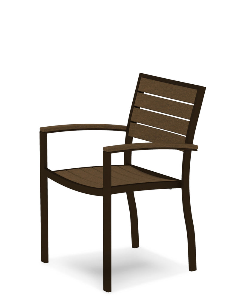A200-16TE Euro Dining Arm Chair in Textured Bronze and Teak