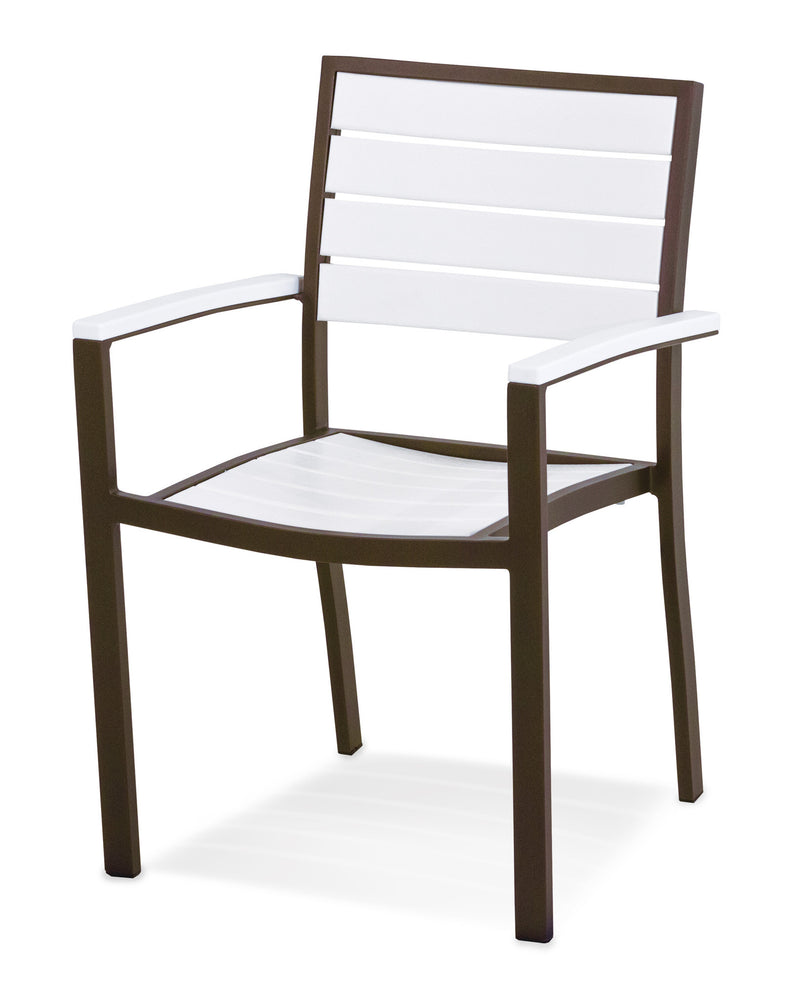 A200-16WH Euro Dining Arm Chair in Textured Bronze and White