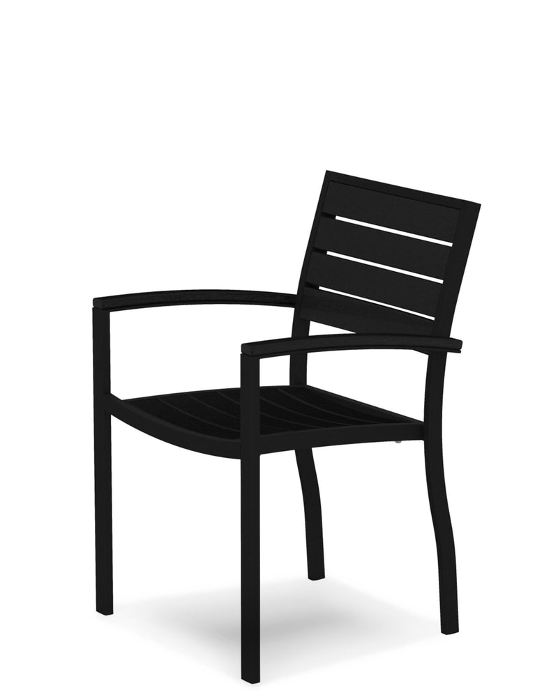 A200FABBL Euro Dining Arm Chair in Textured Black and Black