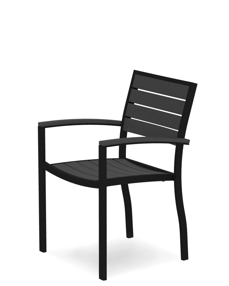 A200FABGY Euro Dining Arm Chair in Textured Black and Slate Grey