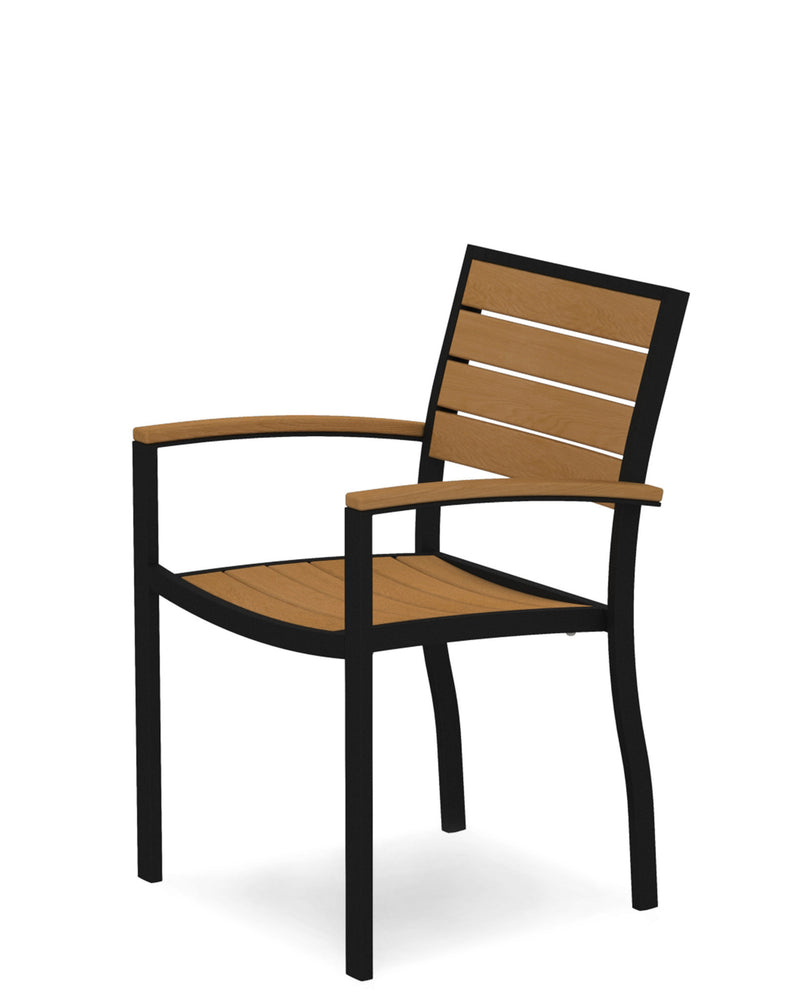 A200FABNT Euro Dining Arm Chair in Textured Black and Plastique Natural Teak