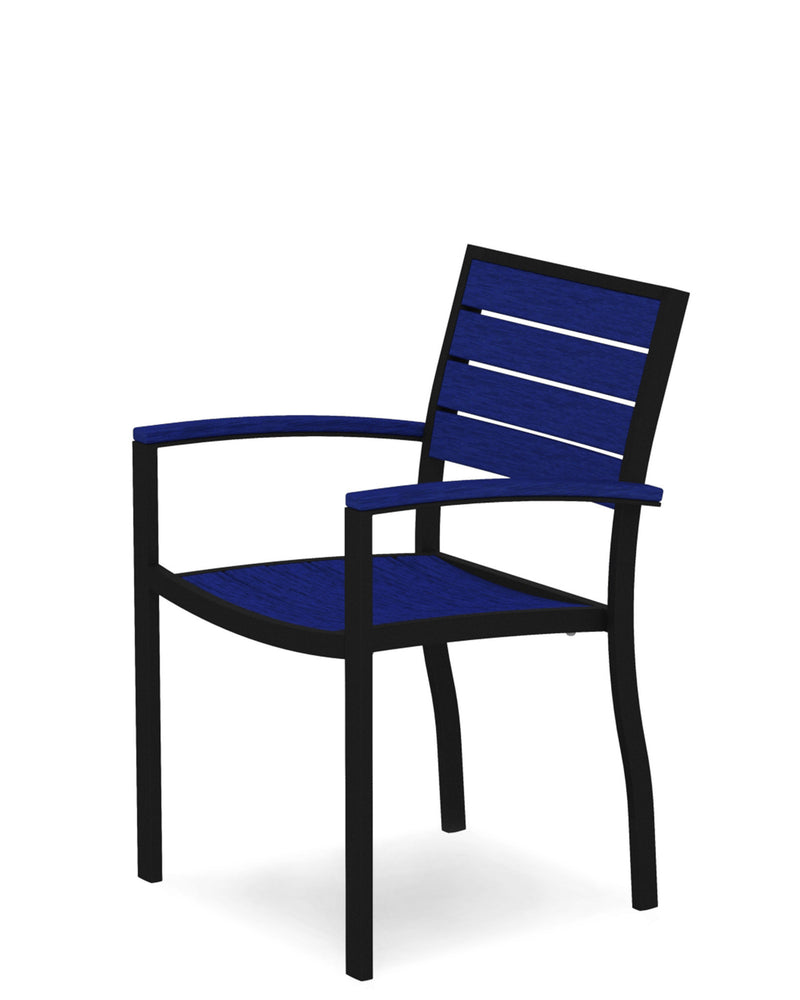 A200FABPB Euro Dining Arm Chair in Textured Black and Pacific Blue